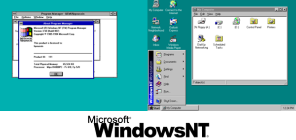 Gambar: Tampilan Windows NT 3.5 dan Windows NT 4 dan Logo Windows NT