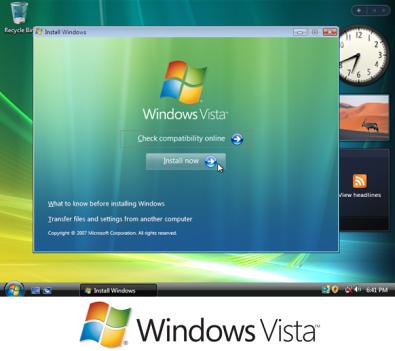Gambar: Tampilandan logo Windows Vista